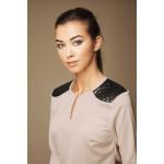 Bluza Ambigante cu insertii din piele eco neagra matlasata la nivelul umerilor