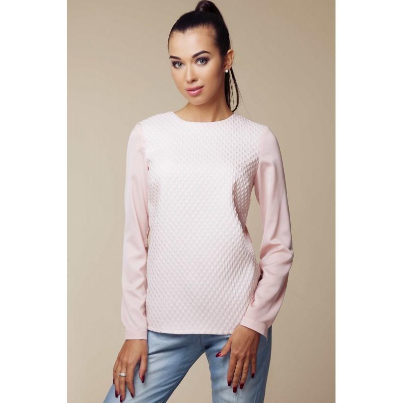Bluza Ambigate roz cu model decorativ in fata