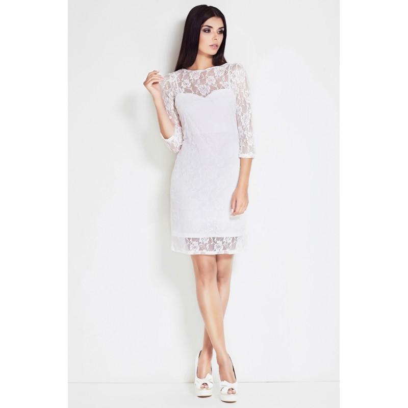 Rochie elegant cu plasa din dantela alb