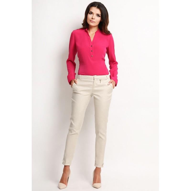 Bluza roz decolteu in V