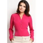 Bluza Awama roz decolteu in V