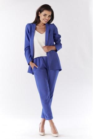 Sacou albastru dama usor asimetric