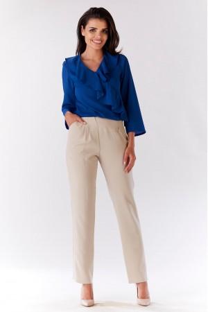 Bluza albastra de dama cu volane