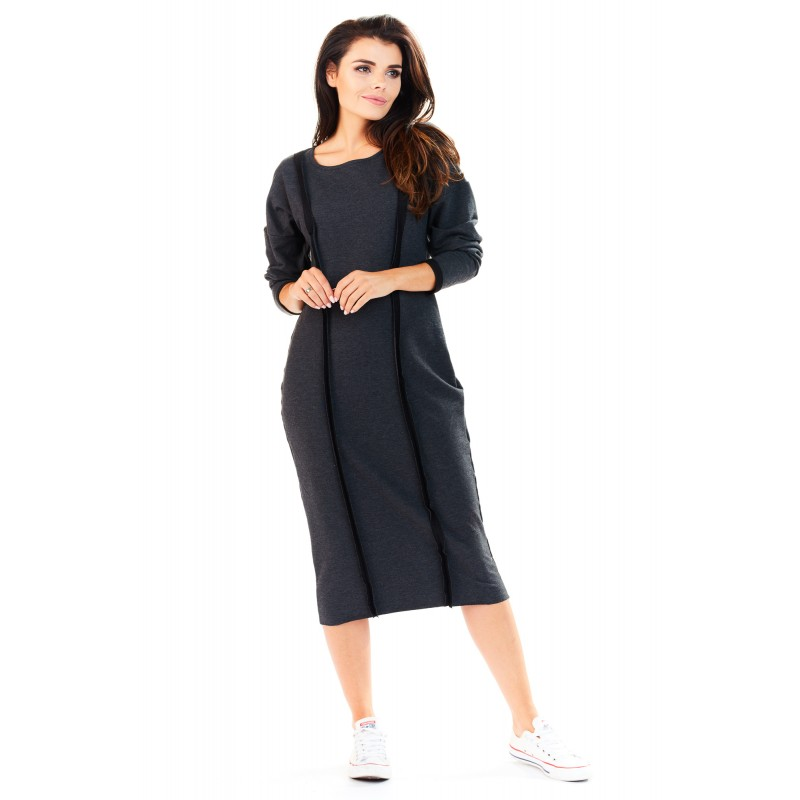 Rochie lunga gri inchis casual-sport