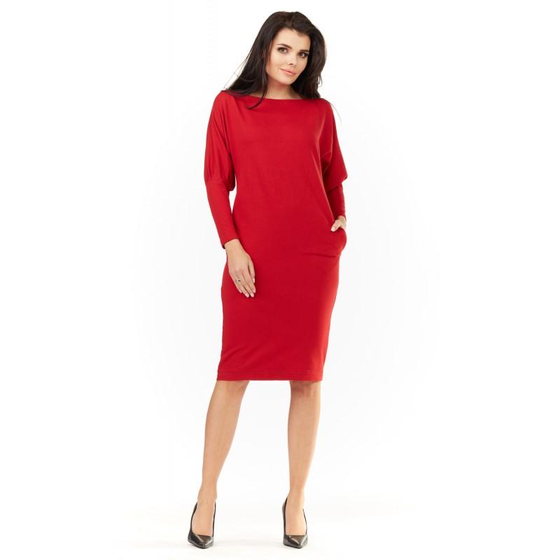 Rochie de zi dreapta rosie maneci lungi