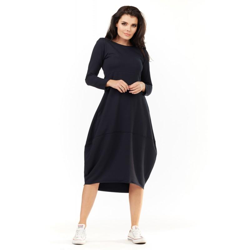 Rochie bleumarin oversize casual-sport lunga