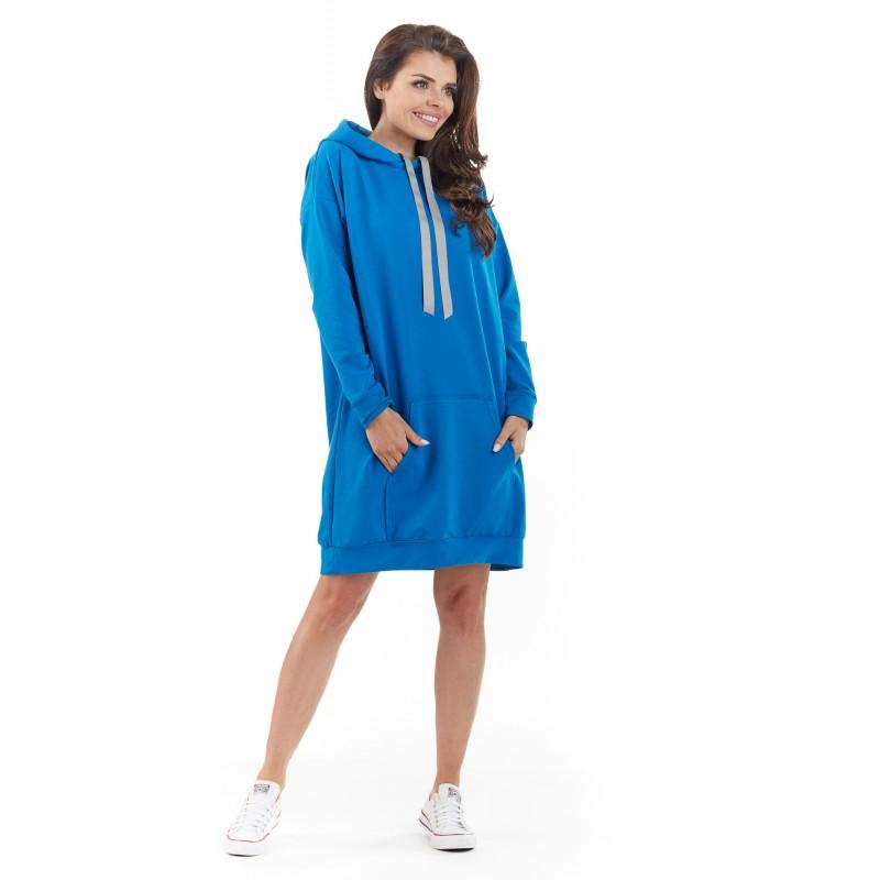 Rochie albastra casual-sport supradimensionata