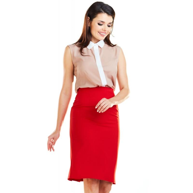 Fusta mini rosie tip creion cu model plisat in spate