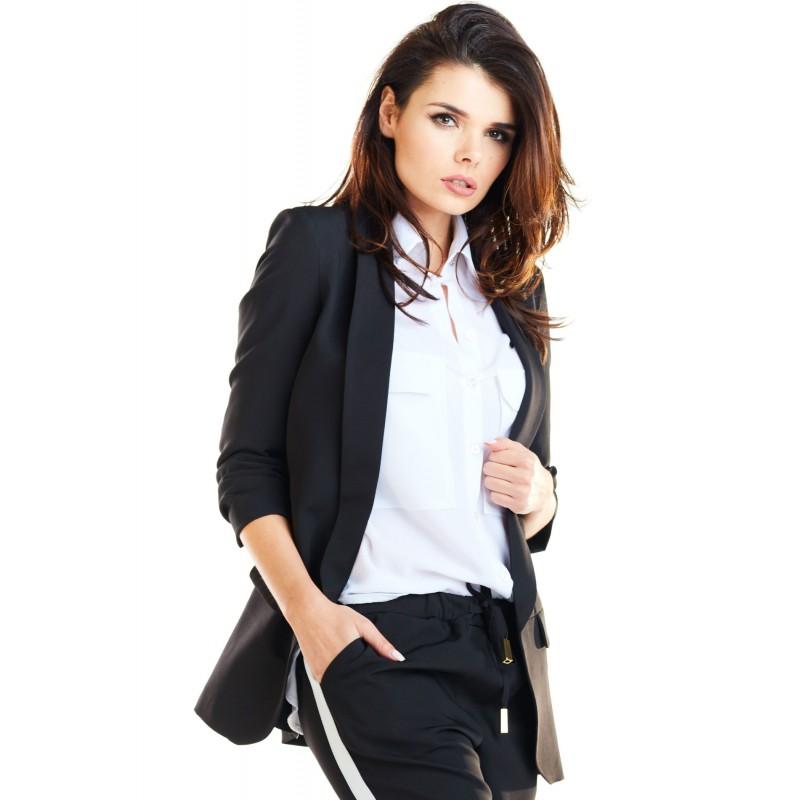 Sacou negru office-elegant cu maneci trei sferturi