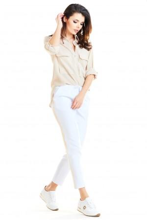 Pantaloni albi casual-sport trei sferturi