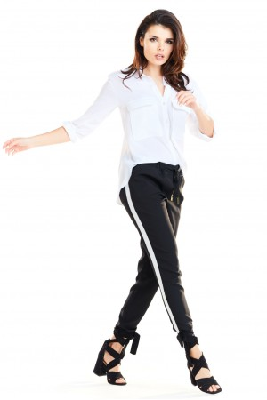Pantaloni negri casual-sport trei sferturi