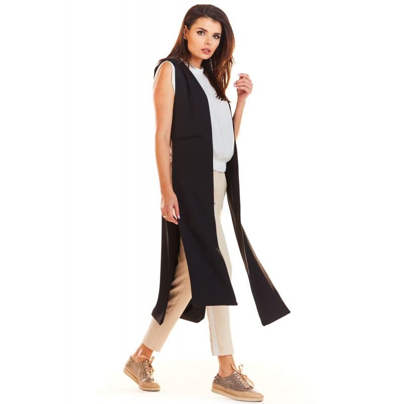 Vesta neagra lunga dama cu decupaje decorative