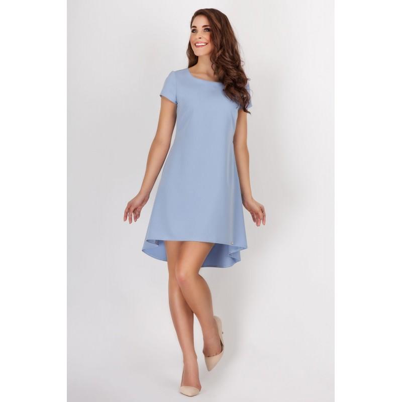 Rochie albastra uni eleganta asimetrica lejera