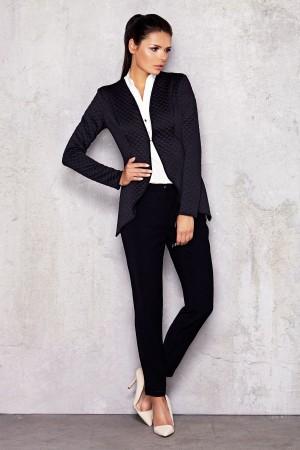 Sacou dama negru elegant modern asimetric Awama