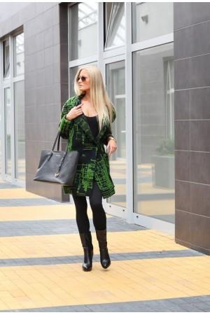 Palton dama negru imprimeu verde