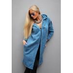 Palton dama albastru cu gluga