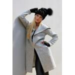 Palton dama gri cu gluga