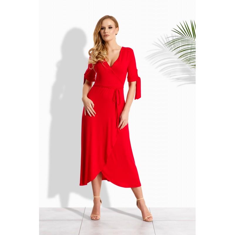 Rochie cu aspect petrecut cu cordon in talie rosie