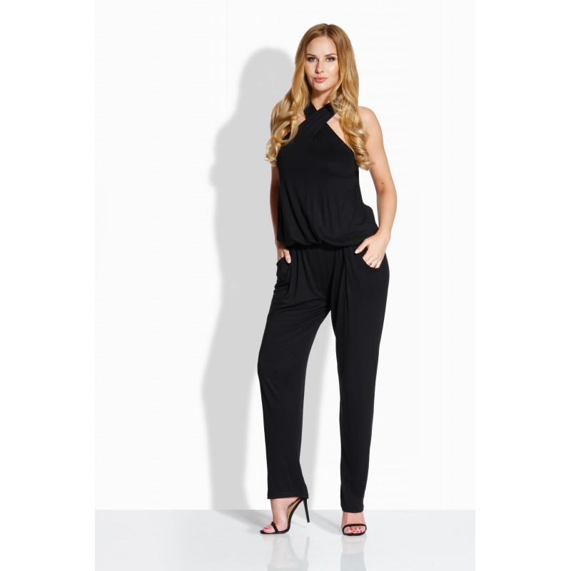 Salopeta dama cu spatele decupat si pantaloni lungi neagra