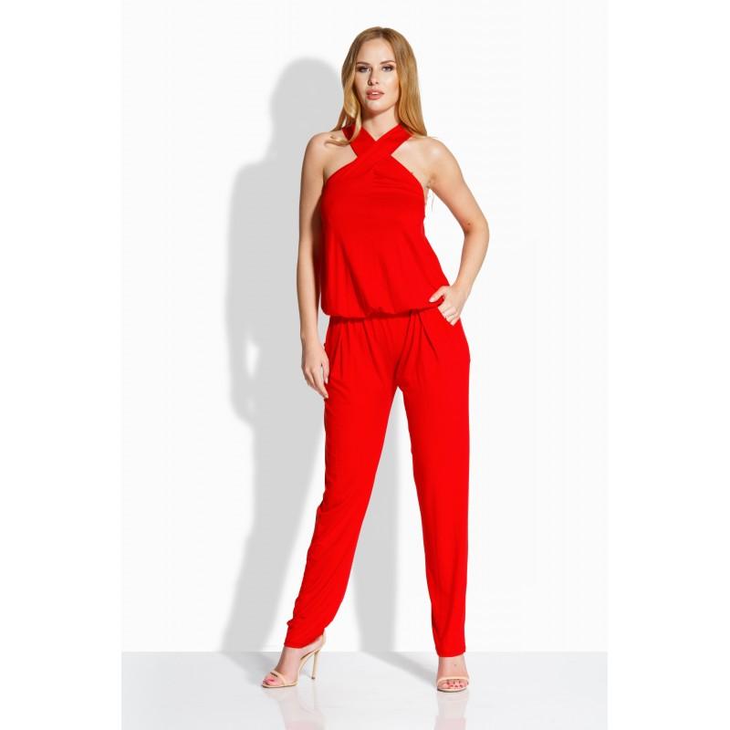 Salopeta dama cu spatele decupat si pantaloni lungi rosie