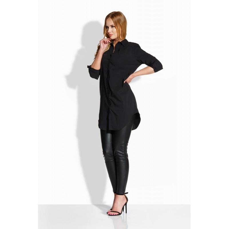 Camasa dama lunga cu fermoar metalic decorativ neagra