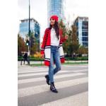 Cardigan dama casual-sport in doua culori rosu-alb