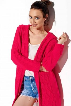 Cardigan de dama tricotat cu lungime medie zmeura
