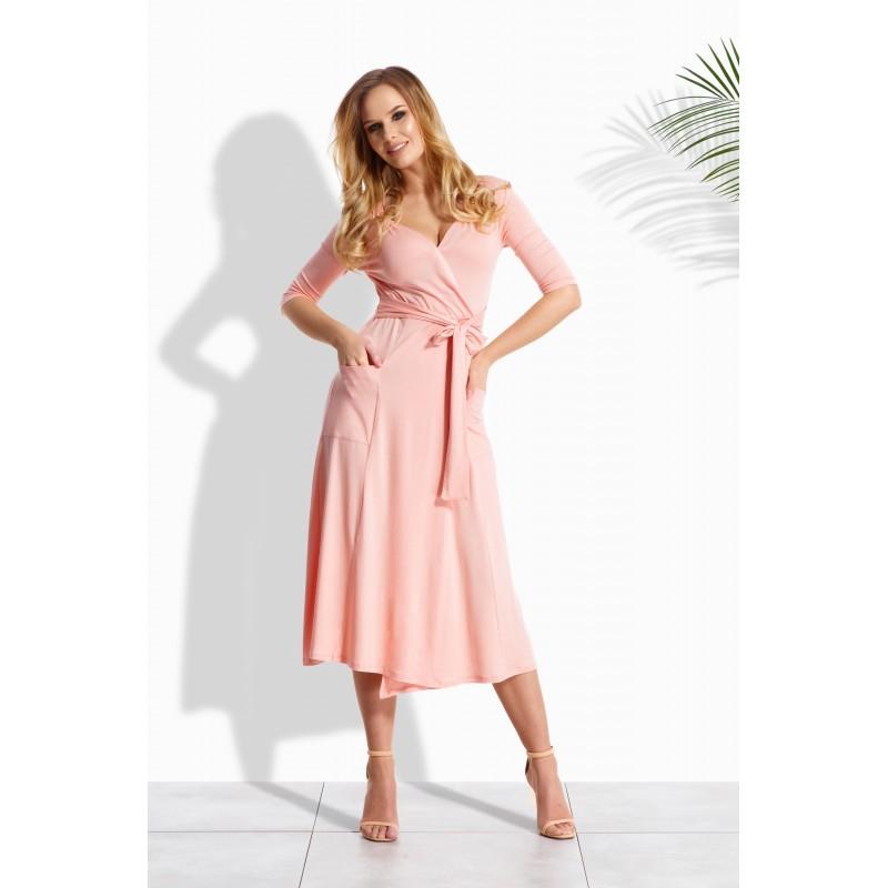 Rochie cu aspect petrecut,buzunare laterale roz-deschis