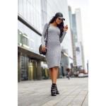 Rochie tricotata dreapta cu lungime medie gri