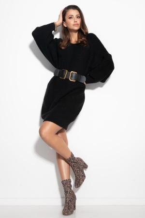 Rochie tricotata dreapta cu lungime medie neagra