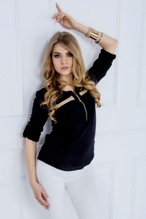 Bluza dama neagra usor asimetrica cu fermoar