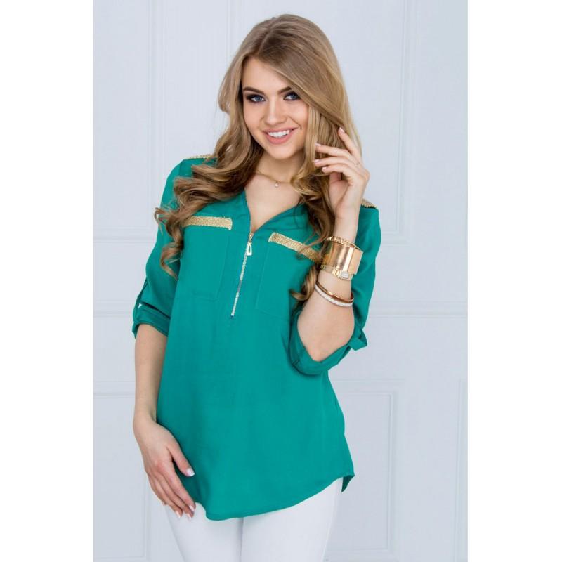 Bluza dama turcoaz usor asimetrica cu fermoar