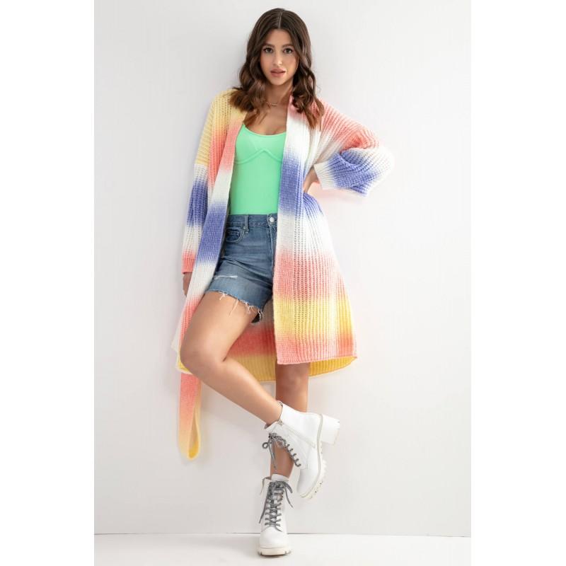 Cardigan cu cordon in talie multicolor