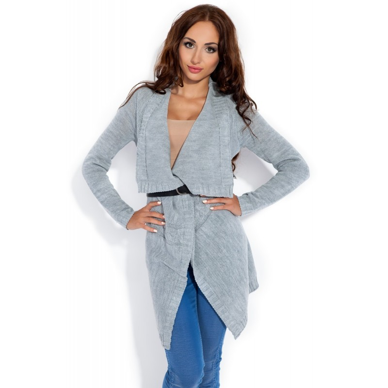Cardigan dama asimetric gri