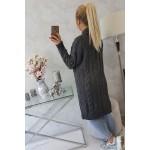 Cardigan lung tricotat gri inchis de dama