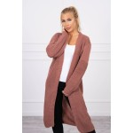 Cardigan lung din amestec de lana roz-inchis