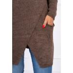 Cardigan de dama tricotat cappuccino cu lungime medie