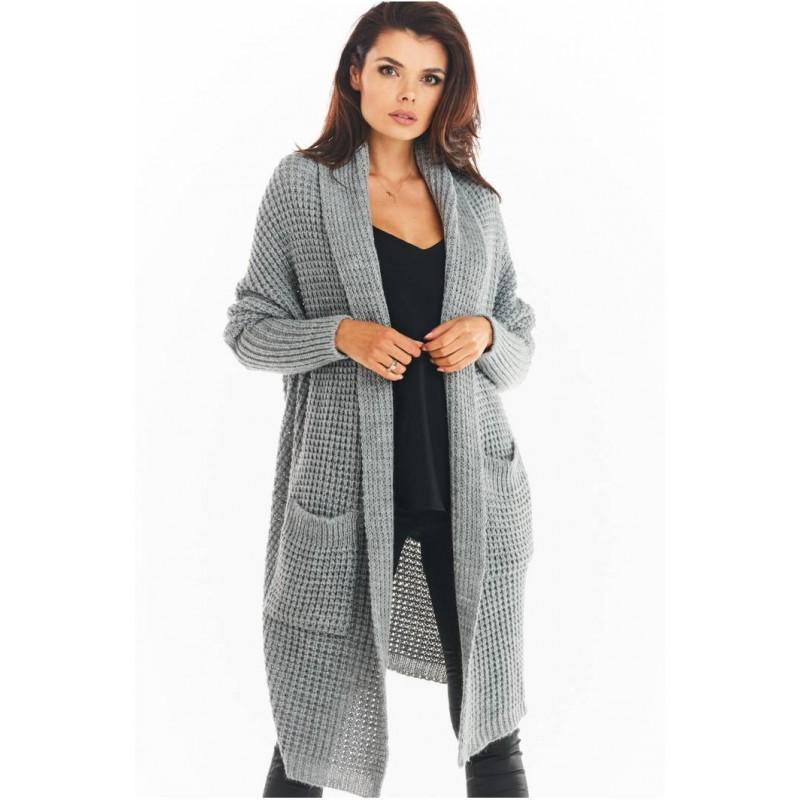 Cardigan dama lung asimetric cu buzunare gri