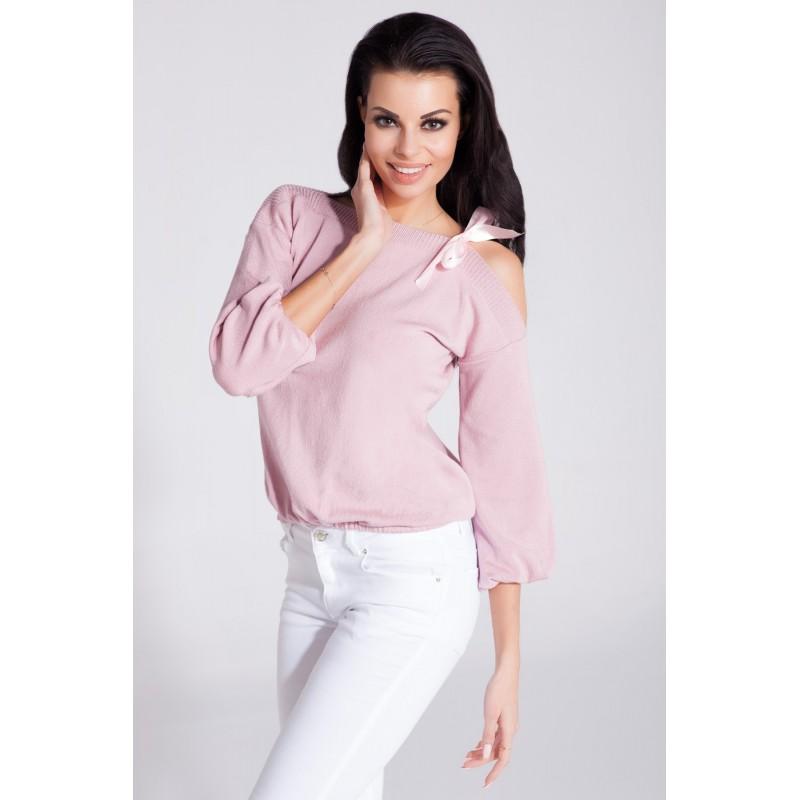 Bluza dama roz deschis eleganta cu decolteu rotund la baza