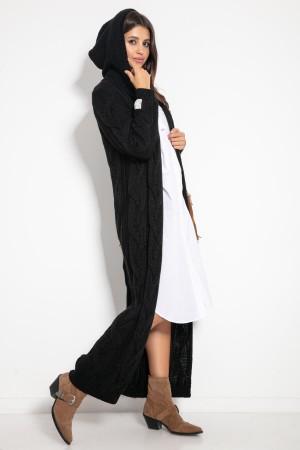 Cardigan de dama maxi lung casual-sport cu gluga negru