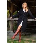 Cardigan casual-elegant cu lungime medie si cordon negru