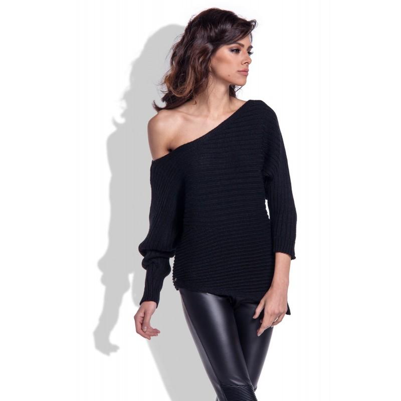 Pulover de dama negru cu colt si umar gol