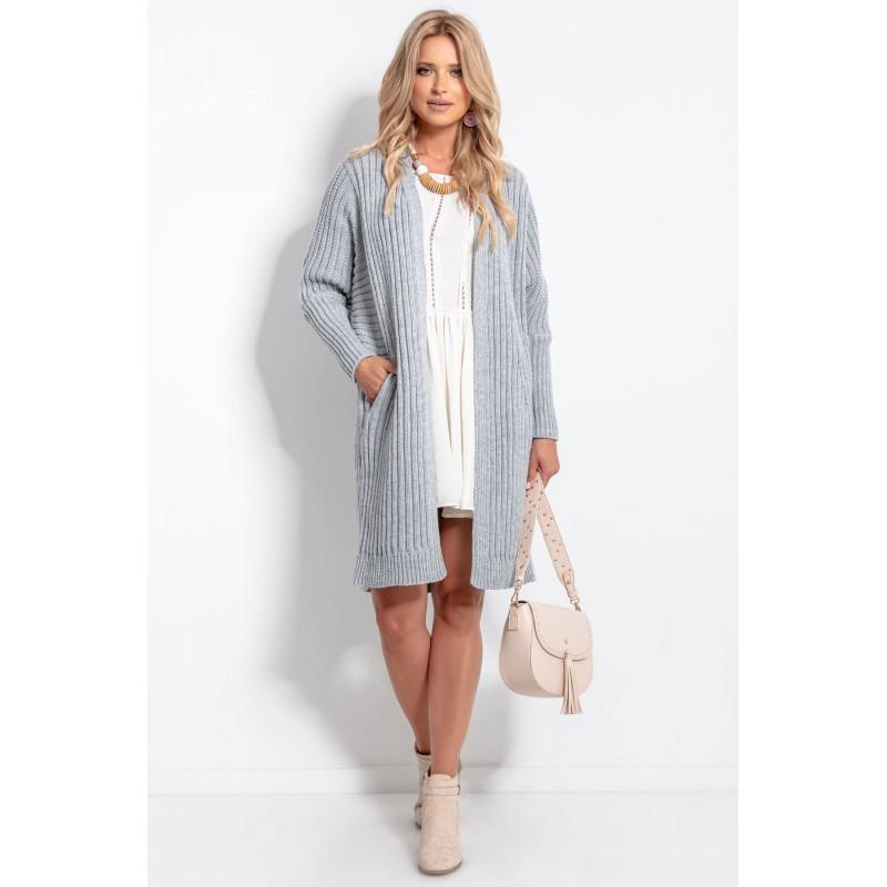 Cardigan clasic cu mâneci lungi,elegant și confortabil gri
