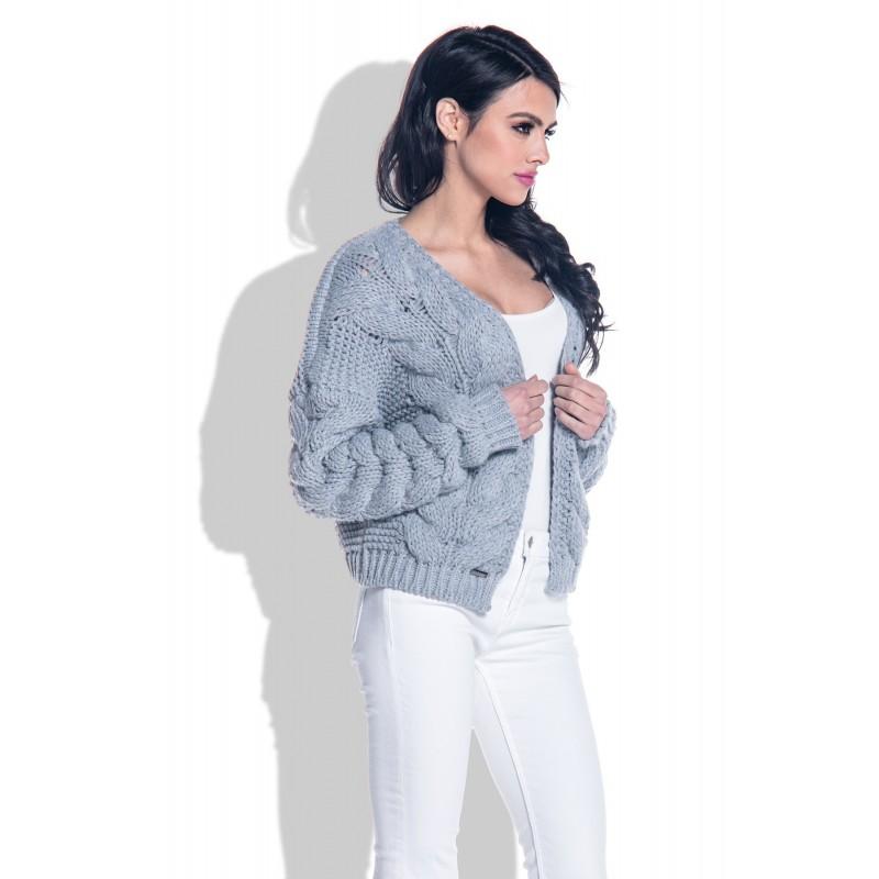 Cardigan scurt cu impletituri tricotate supradimensionate gri