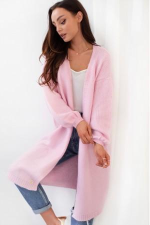 Cardigan de dama lung casual-sport pinkpowder