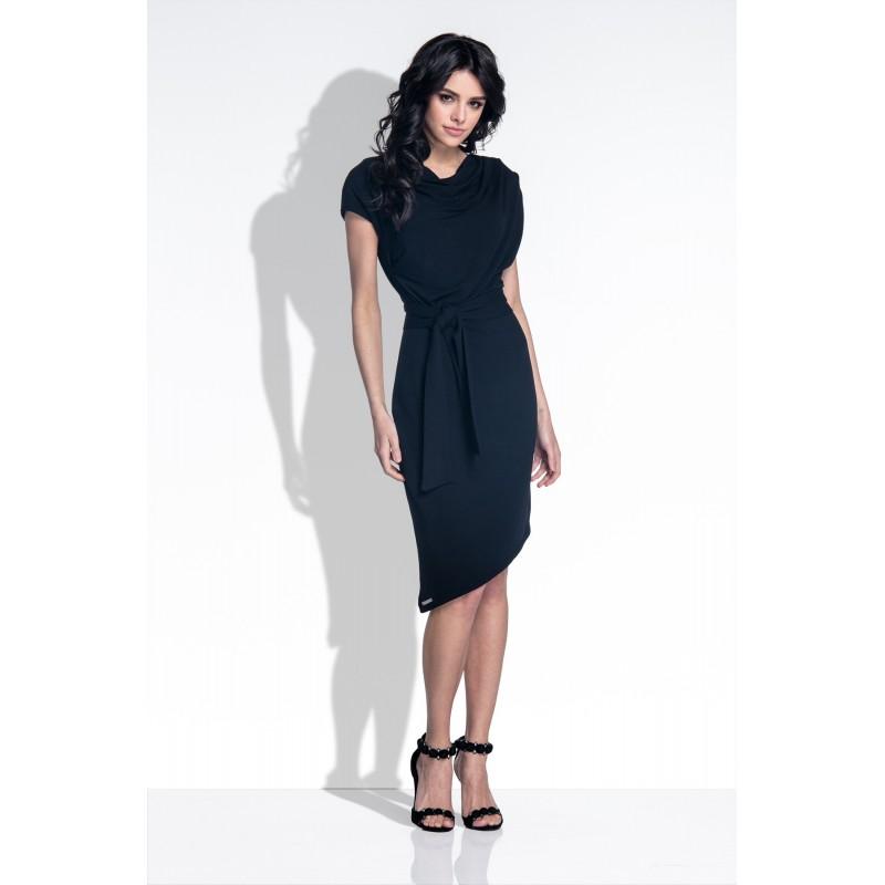 Rochie cu maneci lungi si aplicatii decorative cu ciucuri neagra