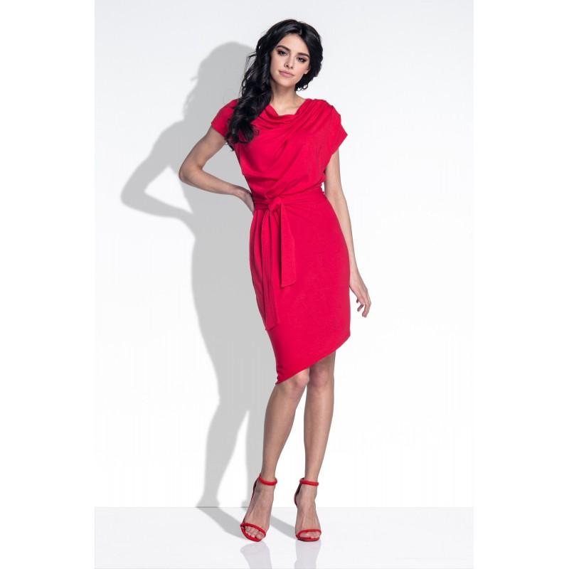Rochie cu maneci lungi si aplicatii decorative cu ciucuri rosie
