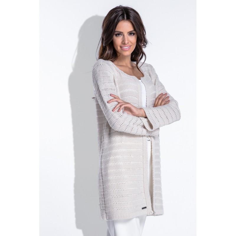 Cardigan dama tricotat elegant cu maneci lungi bej