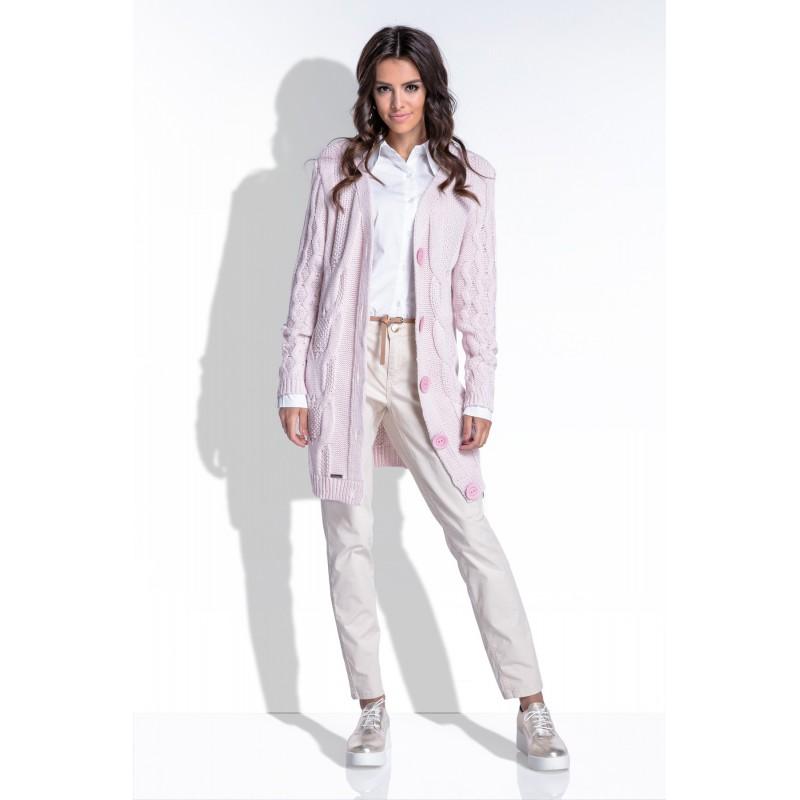 Cardigan dama cu maneci lungi si nasturi supradimensionati roz