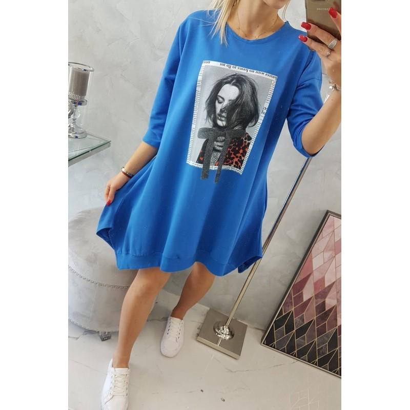 Rochie casual sport asimetrica albastra